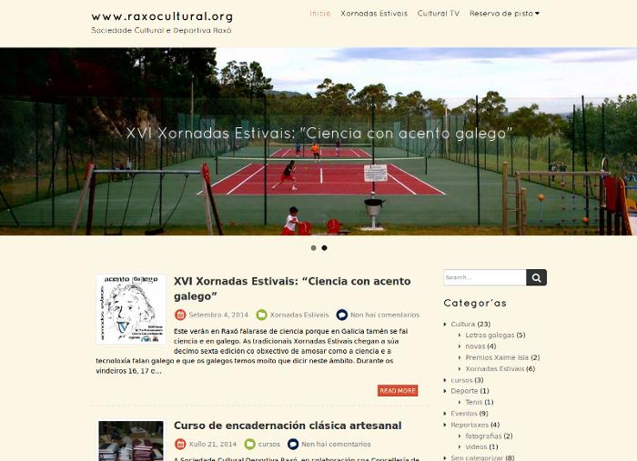 Portal desenvolvido para a Sociedade Cultural e Deportiva Raxó